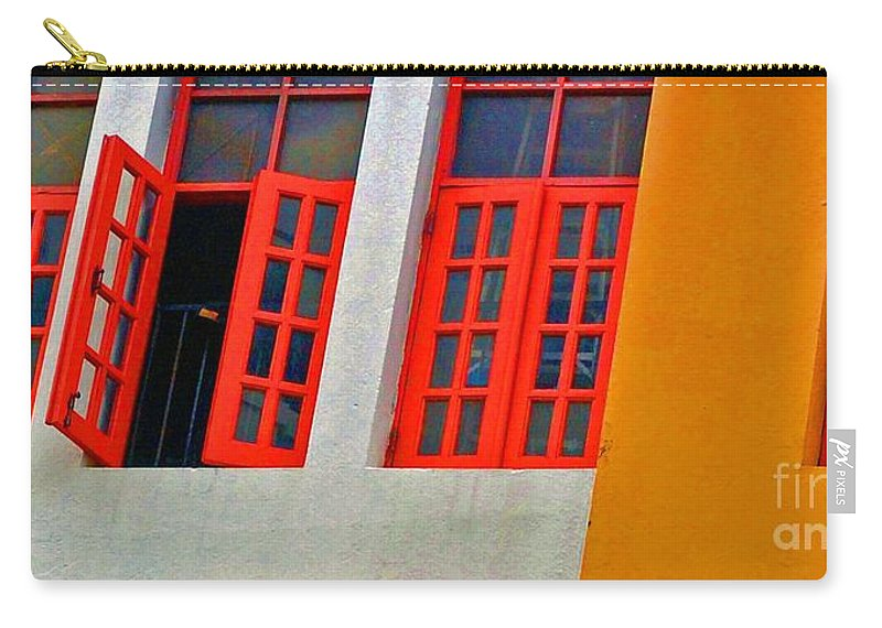 Windows Carry-all Pouch featuring the photograph Red Windows by Debbi Granruth