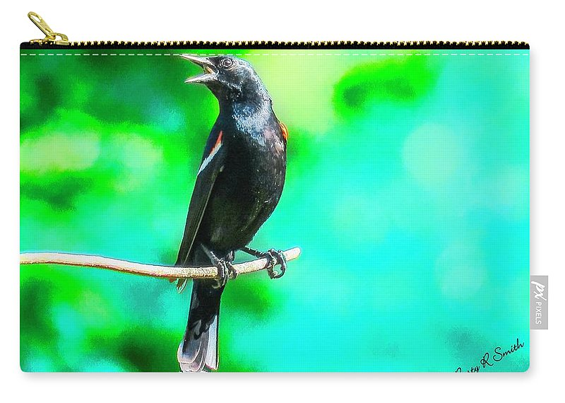 Agelaius Phoeniceus Carry-all Pouch featuring the digital art Red Wing Blackbird Perching And Singing by Rusty R Smith