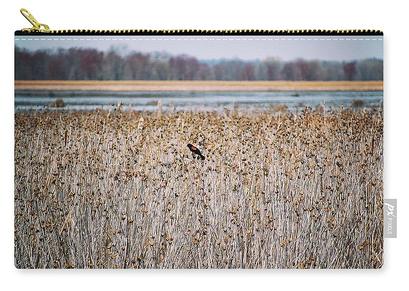 Carry-all Pouch featuring the photograph Red Wing by Marvin Borst