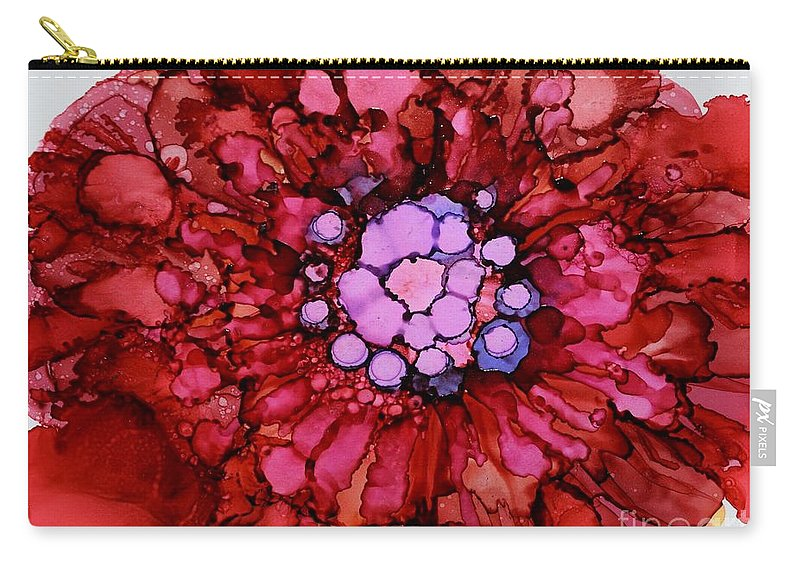 Floral Carry-all Pouch featuring the painting Red Zinnia by Beth Kluth