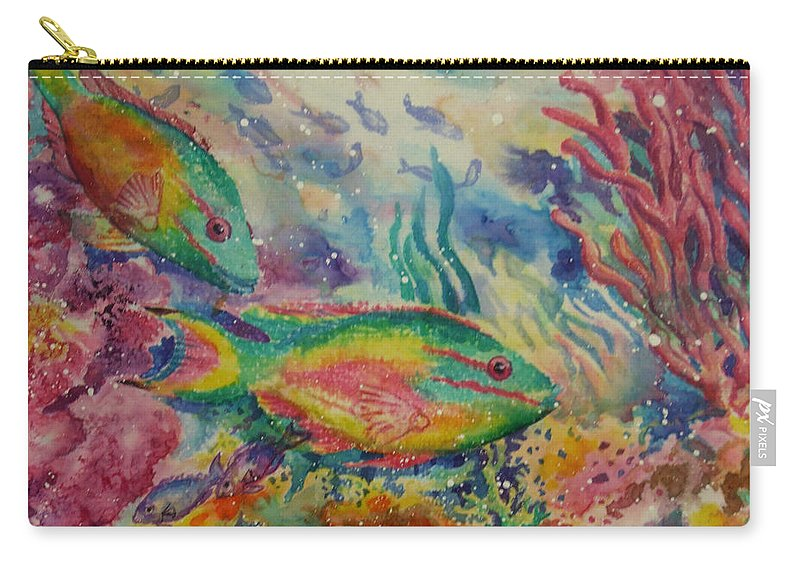 Fish Carry-all Pouch featuring the painting Redband Parrotfish by Deborah Younglao