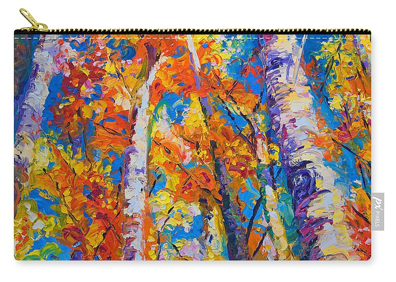 Impresssionist Carry-all Pouch featuring the painting Redemption - fall birch and aspen by Talya Johnson