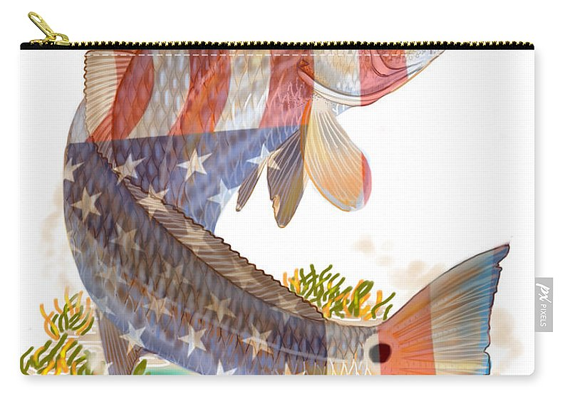 Redfish Carry-all Pouch featuring the digital art Redfish, White And Blue by Carey Chen