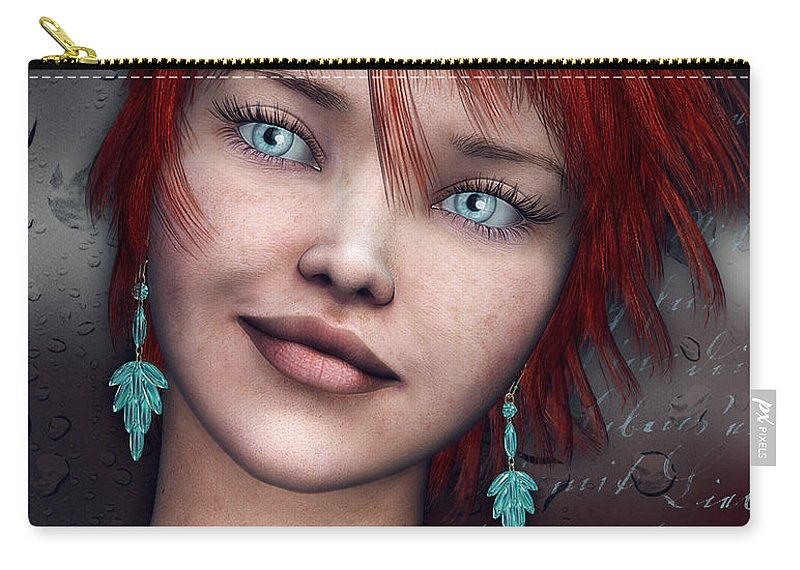 3d Carry-all Pouch featuring the digital art Redhead by Jutta Maria Pusl