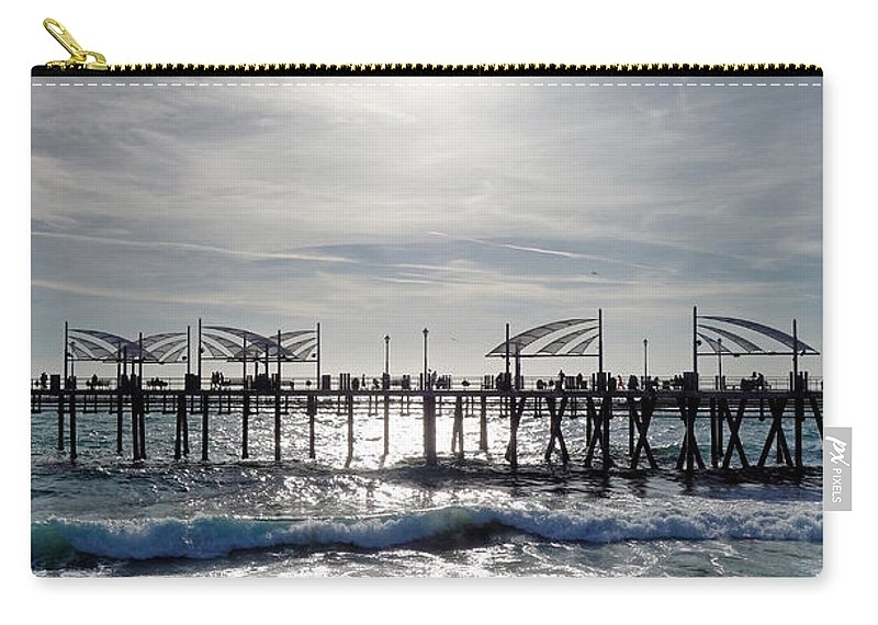Redondo Beach Carry-all Pouch featuring the photograph Redondo Beach Pier Sunset Onset by Robert Meyers-Lussier