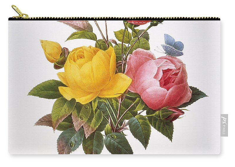 1833 Carry-all Pouch featuring the photograph Redoute: Roses, 1833 by Granger