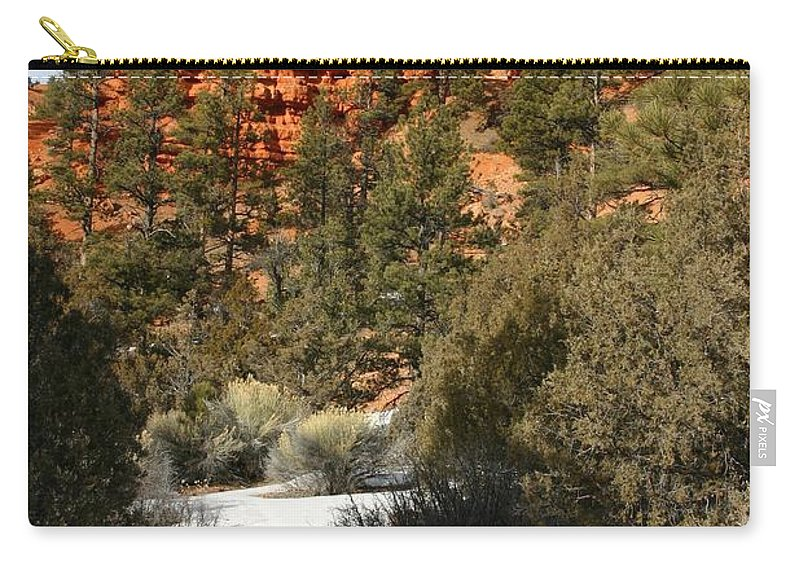 Red Rocks Carry-all Pouch featuring the photograph Redrock Winter by Nelson Strong