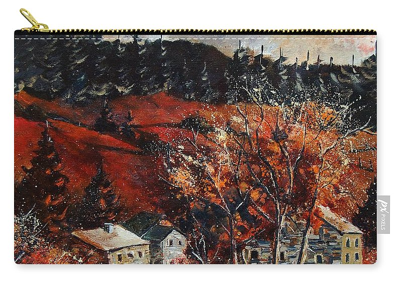 Tree Carry-all Pouch featuring the painting Redu Village Belgium by Pol Ledent