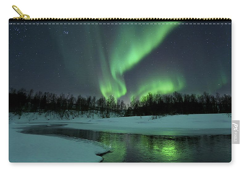 Green Carry-all Pouch featuring the photograph Reflected Aurora Over A Frozen Laksa by Arild Heitmann