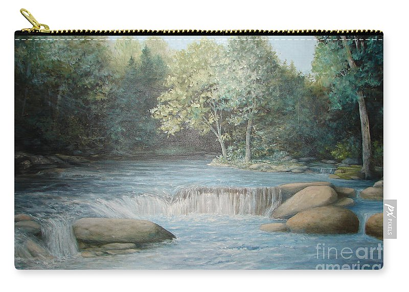 Running Water Carry-all Pouch featuring the painting Reflected Blue by Penny Neimiller