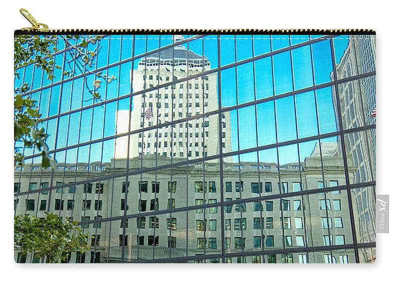 Boston Carry-all Pouch featuring the photograph Reflecting Hancock by Greg Fortier