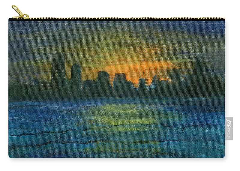 Seascape Carry-all Pouch featuring the painting Reflecting Night by Jorge Delara