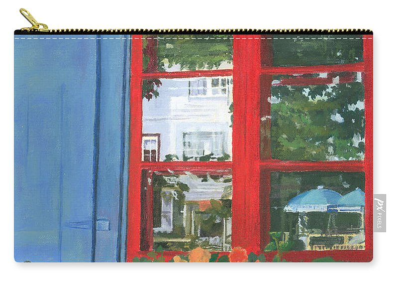 Window Carry-all Pouch featuring the painting Reflecting Panes by Lynne Reichhart