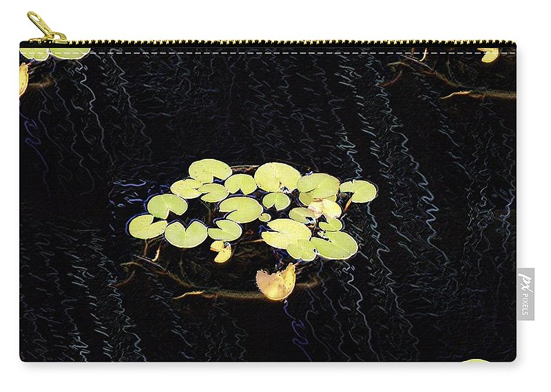 Lillies Carry-all Pouch featuring the digital art Reflecting Pool Lilies by Tim Allen