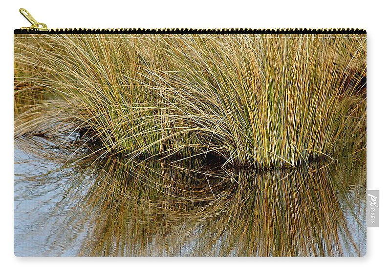 Reflections Carry-all Pouch featuring the photograph Reflecting Reeds by Marty Koch