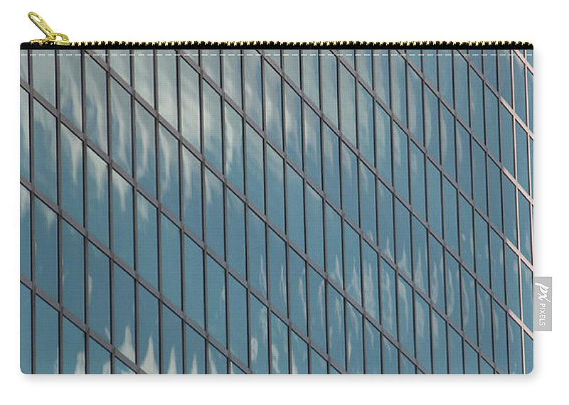 Photography Carry-all Pouch featuring the photograph Reflection Clouds On Building by Steven Natanson