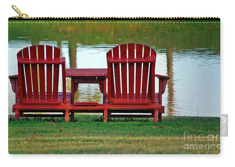 Chairs Carry-all Pouch featuring the photograph Reflection by Debbi Granruth