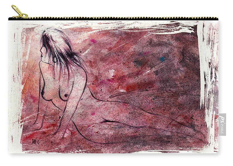Nude Carry-all Pouch featuring the painting Reflection by Rachel Christine Nowicki