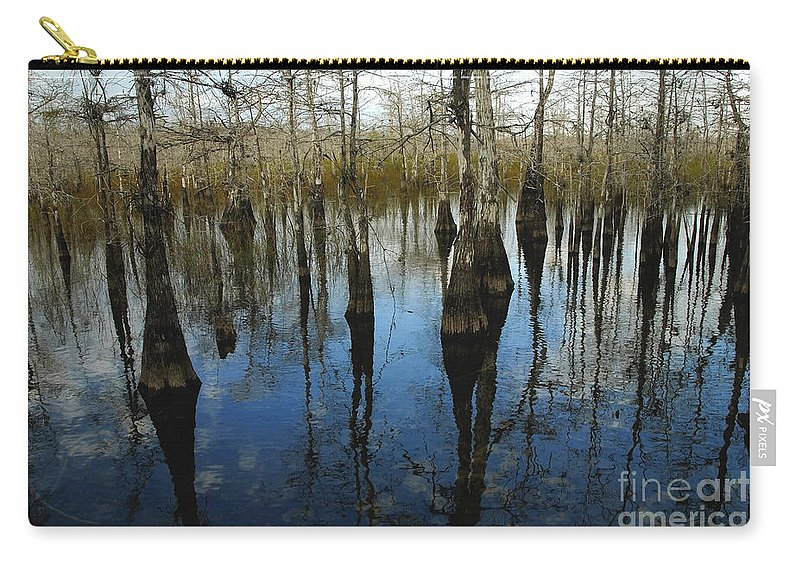 Bald Cypress Trees Carry-all Pouch featuring the photograph Reflections At Big Cypress by David Lee Thompson