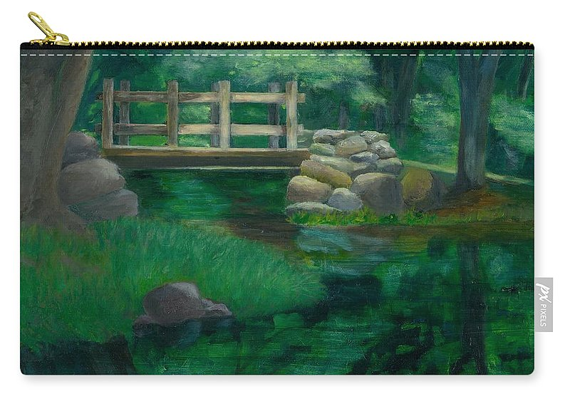 Summer Water Reflections Stream Bridge Landscape Rocks Green Park Carry-all Pouch featuring the painting Reflections at Chatfield Hollow by Paula Emery