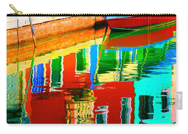 Abstract Carry-all Pouch featuring the pastel Reflections Near The Red Hull by Donna Corless