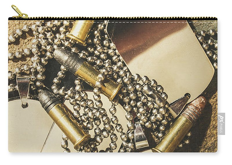 Dog Tag Carry-all Pouch featuring the photograph Reflections Of Battle by Jorgo Photography - Wall Art Gallery