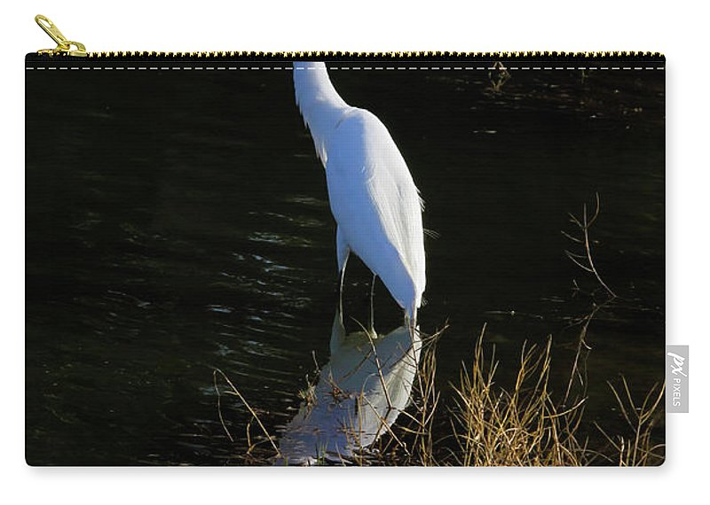 Giant Egret Carry-all Pouch featuring the photograph Reflections Of Beauty by Deborah Benoit