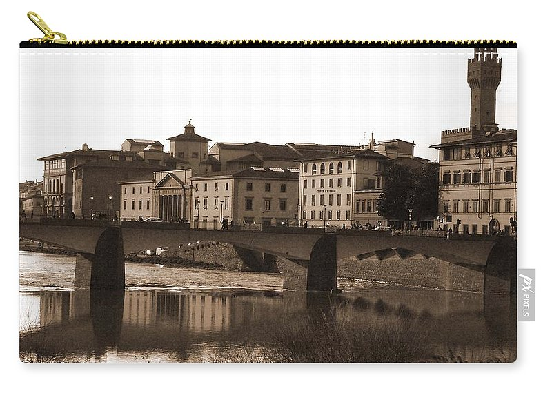 Sepia Carry-all Pouch featuring the photograph Reflections Of Florence by Donna Corless