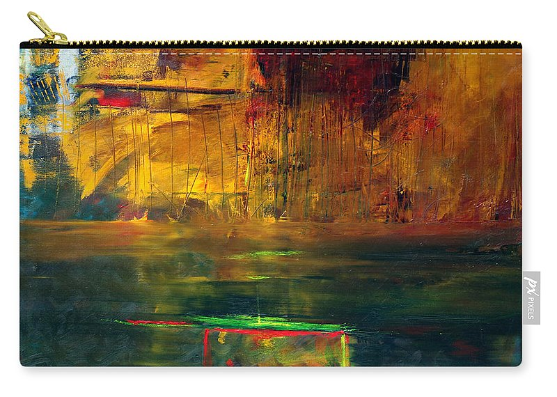 New York City Reflection Red Yellow Blue Green Carry-all Pouch featuring the painting Reflections Of New York by Jack Diamond