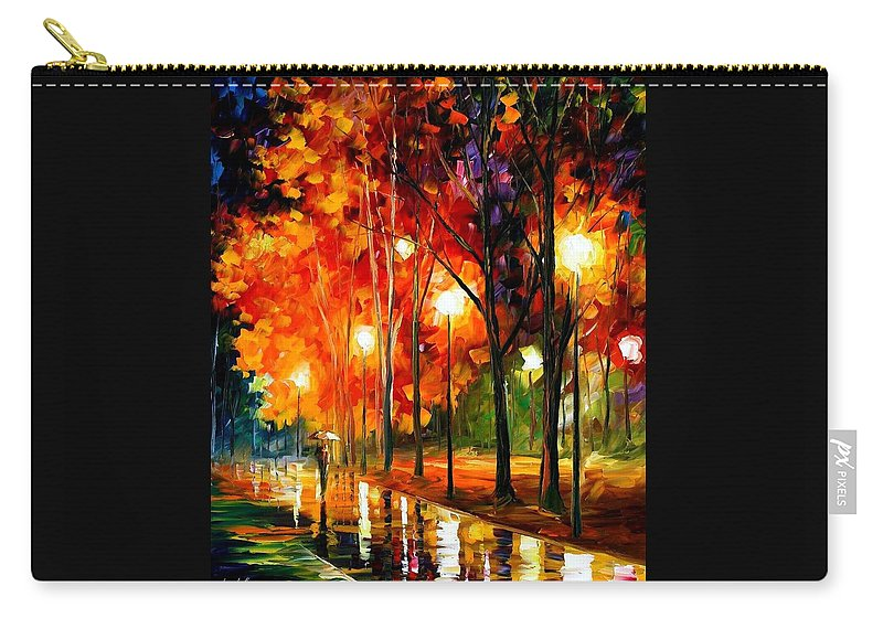 Afremov Carry-all Pouch featuring the painting Reflections Of The Night by Leonid Afremov