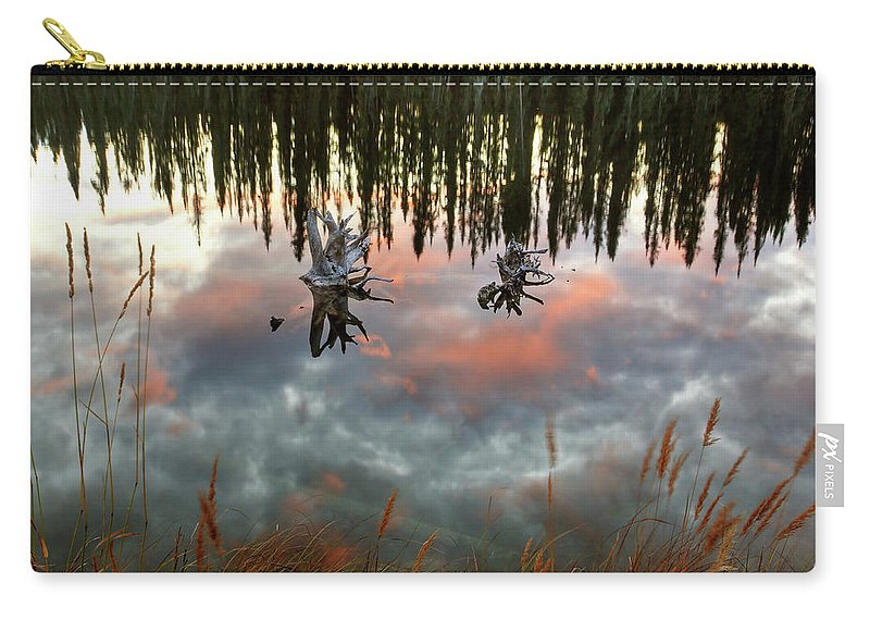 Reflection Carry-all Pouch featuring the digital art Reflections Off Pond In British Columbia by Mark Duffy