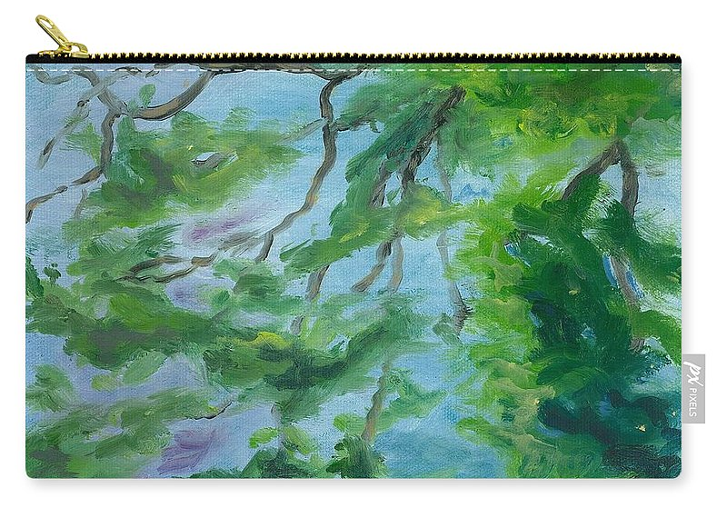 Reflections Carry-all Pouch featuring the painting Reflections On The Mill Pond by Paula Emery