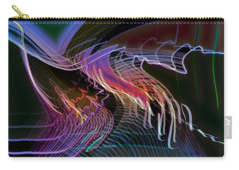 Drawing Carry-all Pouch featuring the digital art Reflexions Blue by Helmut Rottler