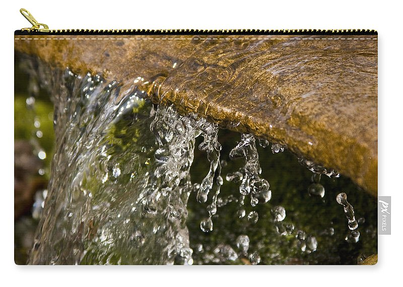 Water Stream Creek Drop Droplet Stone Run Nature Clear Cold Fall Carry-all Pouch featuring the photograph Refreshment by Andrei Shliakhau