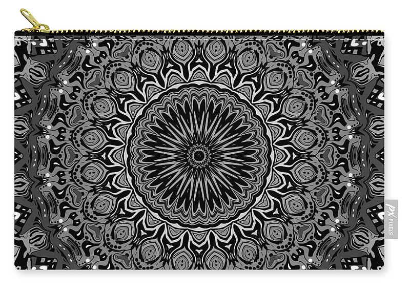 Digital Carry-all Pouch featuring the digital art Regalia Black And White No. 4 by Joy McKenzie