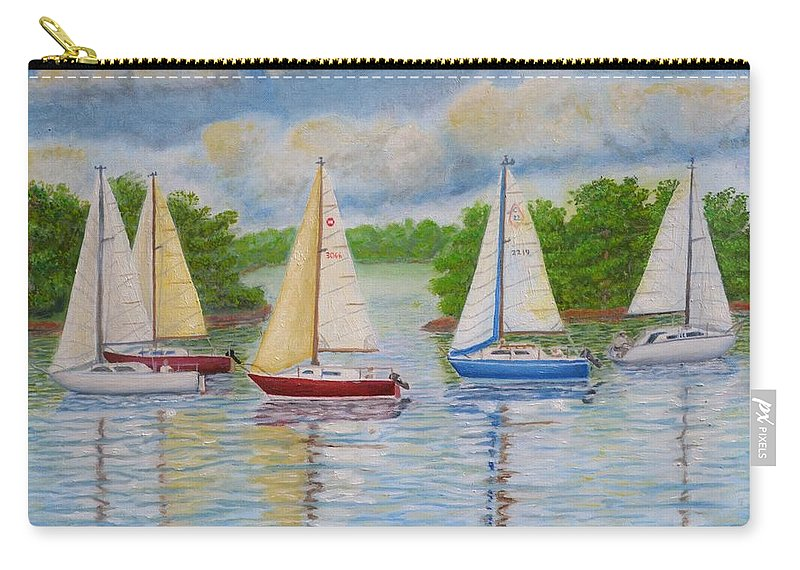 Regatta Carry-all Pouch featuring the painting Regatta 2 by Andrew Pierce