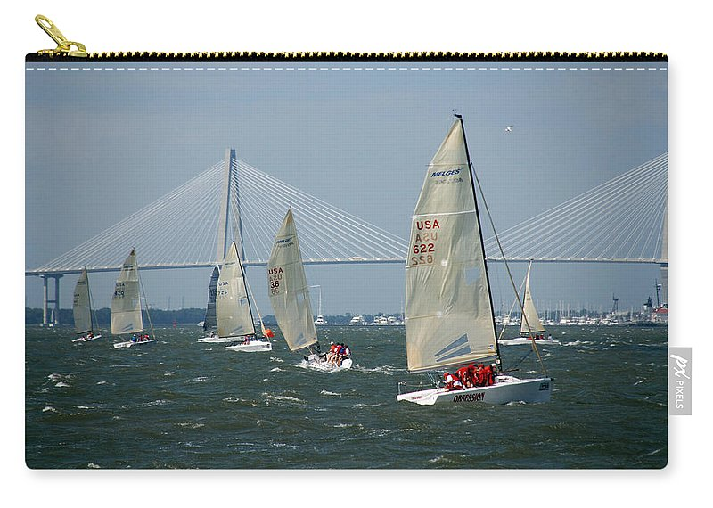 Photography Carry-all Pouch featuring the photograph Regatta In Charleston Harbor by Susanne Van Hulst