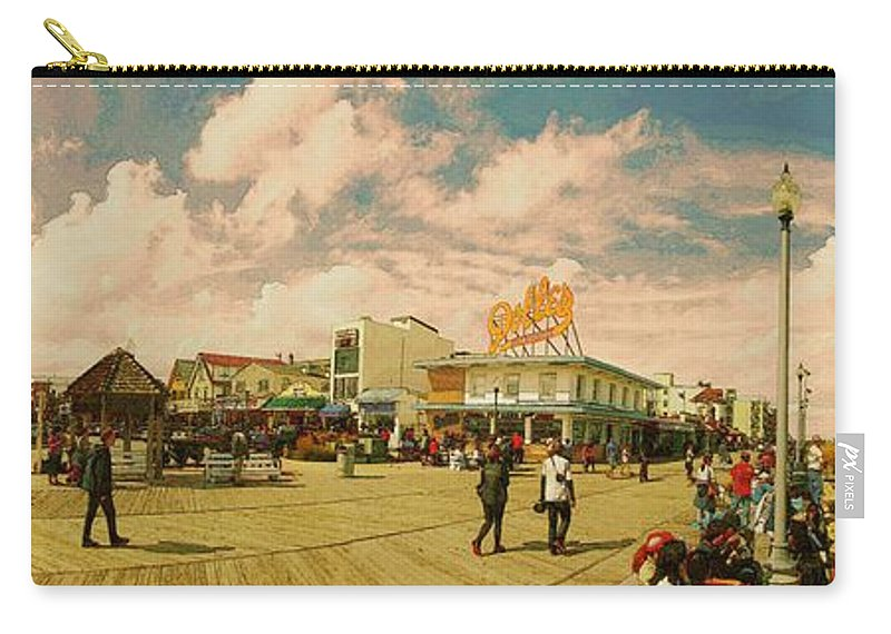 Rehoboth Beach Panorama Carry-all Pouch featuring the photograph Rehoboth Beach In Fall by Jeffrey Todd Moore
