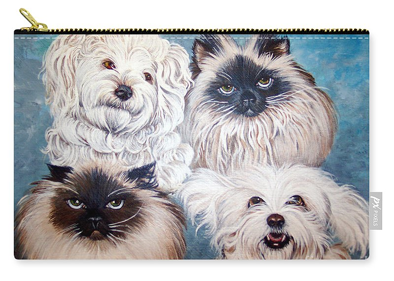 Cats Carry-all Pouch featuring the painting Reigning Cats N Dogs by Nancy Cupp