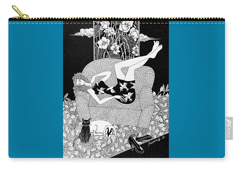 Figurative Art Carry-all Pouch featuring the drawing Relaxing #3 by Xueping Zhang