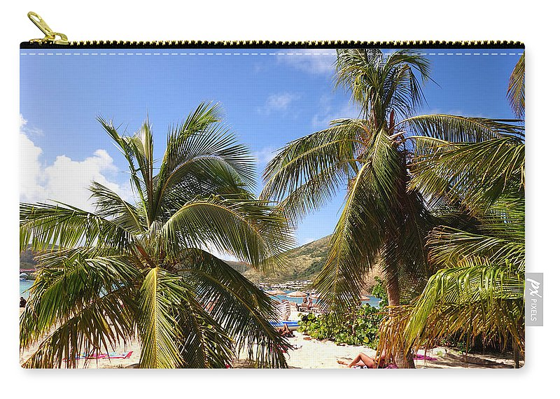 Pinel Carry-all Pouch featuring the photograph Relaxing On The Beach. Pinel Island Saint Martin Caribbean by Toby McGuire