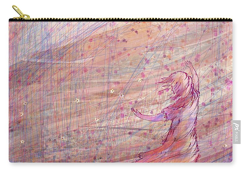 Abstract Carry-all Pouch featuring the digital art Releasing The Daisies by Rachel Christine Nowicki