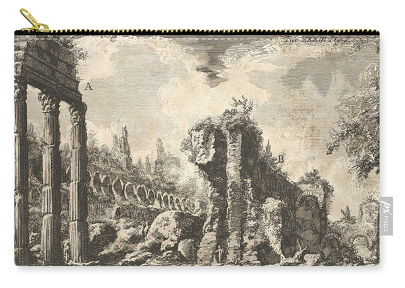 18th Century Art Carry-all Pouch featuring the relief Remains Of The Temple Of Castor And Pollux by Giovanni Battista Piranesi