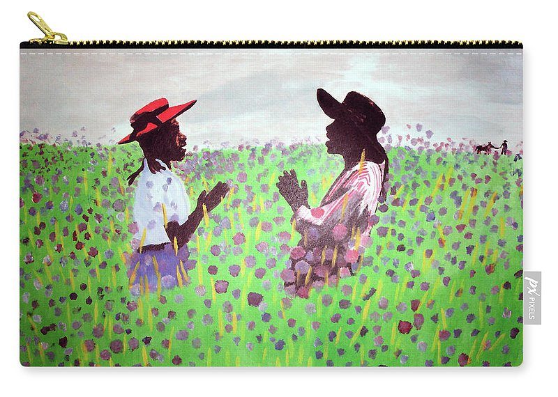 The Color Purple Carry-all Pouch featuring the painting Remember Way Back When by Lee McCormick