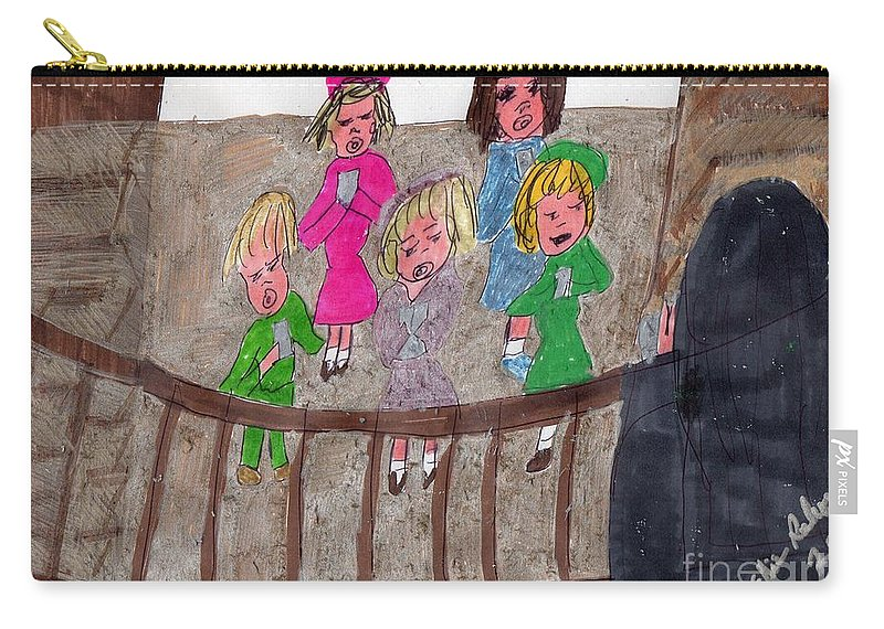 Children In A Choir Nun Teaching Them How To Sing Roman Latin Carry-all Pouch featuring the mixed media Remember When We Learned Roman Latin From Singing In The Choir by Elinor Helen Rakowski