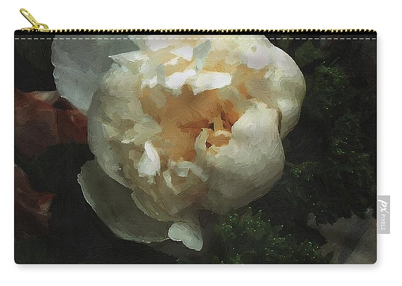 Flower Carry-all Pouch featuring the painting Remembrance In White by RC DeWinter