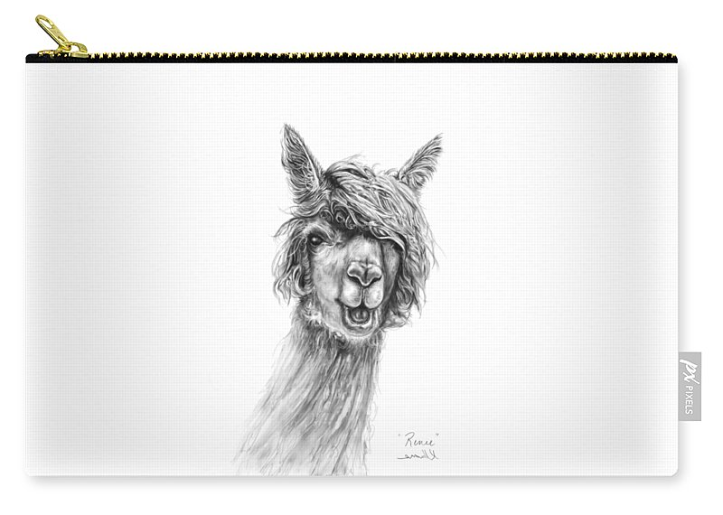 Llama Art Carry-all Pouch featuring the drawing Renee by K Llamas