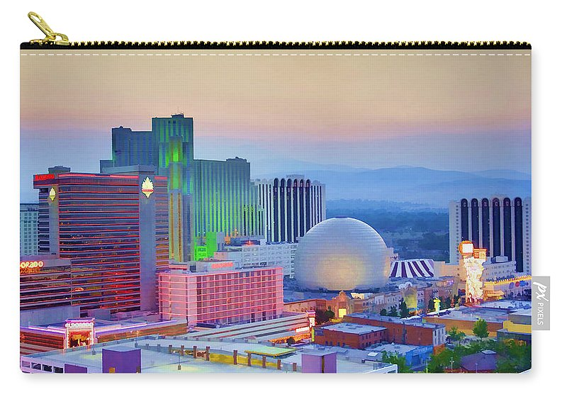 Reno Carry-all Pouch featuring the photograph Reno At Sunset by Ricky Barnard