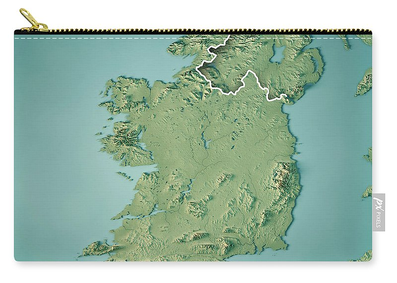Map Of Ireland 3d.Republic Of Ireland Country 3d Render Topographic Map Border Carry All Pouch