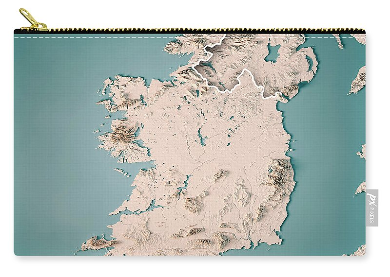 Map Of Ireland 3d.Republic Of Ireland Country 3d Render Topographic Map Neutral Carry All Pouch
